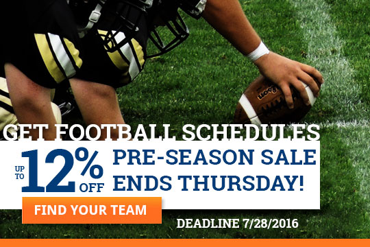 Football Schedule Magnet sale ends Thursday!