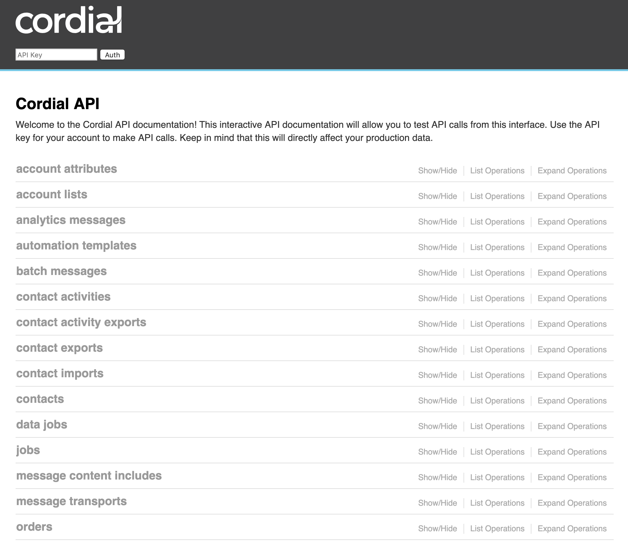 Using Swagger to Access and Test Cordial APIs – Cordial
