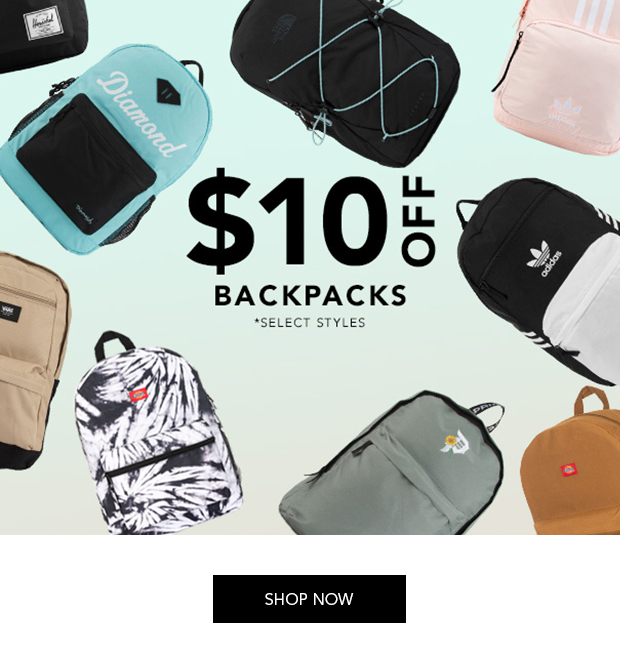 $10 Off Backpacks