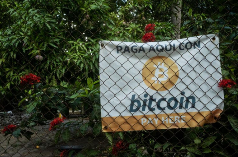 Bitcoin signage outside a shop in El Zonte, El Salvador